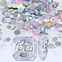 cheap Rhinestone & Decorations-holographic silver mermaid nail art sequins flakes semi transparent paillettes
