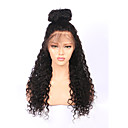 cheap Party Headpieces-Human Hair Lace Wig 360 Frontal Curly 100% Hand Tied African American Wig Natural Hairline 180% Density Natural Black Short Medium Long