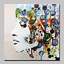 cheap Rings-Oil Painting Hand Painted - People Abstract Modern Canvas