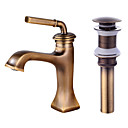cheap Bathroom Sink Faucets-Faucet Set - Widespread Antique Bronze Centerset Single Handle One Hole Bath Taps