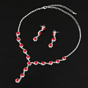 cheap Necklaces-Women's Synthetic Aquamarine / AAA Cubic Zirconia / Synthetic Sapphire Jewelry Set - Cubic Zirconia, Silver Drop Classic, Elegant Include Drop Earrings / Choker Necklace / Bridal Jewelry Sets Red