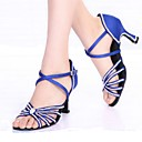 cheap Totes-Women's Latin Shoes Silk Heel Buckle / Crystals / Rhinestones Customizable Dance Shoes Black / Blue / Indoor / Leather