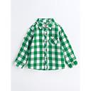 cheap Boys' Pants-Boys' Houndstooth Shirt, Cotton Spring Fall Long Sleeves Green