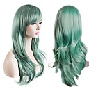 cheap Women's Heels-Synthetic Wig Natural Wave Synthetic Hair Green Wig Women's Long Capless