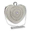 cheap Bracelets-Women's Bags Polyester Evening Bag Rhinestone / Pearls Silver / Wedding Bags