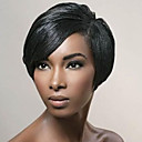 cheap Human Hair Capless Wigs-Human Hair Capless Wigs Human Hair Straight Pixie Cut With Bangs Side Part Short Machine Made Wig Women's