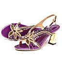 baratos Sandálias Femininas-Mulheres Sapatos Couro Verão / Outono Conforto / Inovador Sandálias Caminhada Salto Agulha Peep Toe Pedrarias / Presilha Dourado / Roxo