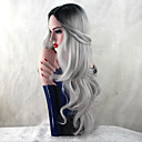 cheap Synthetic Capless Wigs-Synthetic Wig Body Wave Synthetic Hair Heat Resistant / Dark Roots / Natural Hairline Gray Wig Women's Long Capless Grey