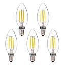 baratos Lâmpadas Filamento de LED-BRELONG® 5pçs 4W 350lm E14 Lâmpadas de Filamento de LED C35 4 Contas LED COB Branco Quente Branco 220-240V