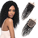 cheap Synthetic Capless Wigs-Febay 4x4 Closure Curly / Classic Free Part / Middle Part / 3 Part Swiss Lace Remy Human Hair Daily