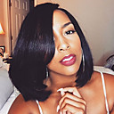 cheap Human Hair Wigs-Human Hair Wig Straight / 360 Frontal 180% Density Natural Hairline / African American Wig / 100% Hand Tied Women's Short / Medium Length Human Hair Lace Wig