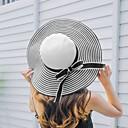 abordables Coiffes-Femme Acrylique Paille Simple Chapeau de soleil-Couleur unie,Rayé Blanc Noir Printemps Eté