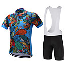 ieftine Cycling Underwear & Base Layer-FUALRNY® Bărbați Manșon scurt Jerseu Cycling cu Colanți - Albastru Închis / Rosu Bicicletă Set de Îmbrăcăminte Uscare rapidă Dungi reflectorizante Κατά του ιδρώτα Sport Poliester Coolmax® Silicon