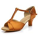 "cheap Latin Shoes-Women's Latin Silk Heels Performance Cuban Heel Brown Black 1"" - 1 3/4"" 2"" - 2 3/4"" Customizable"
