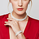 cheap Earrings-Women's Layered Jewelry Set - Rhinestone Luxury, Fashion, Elegant Include Choker Necklace / Necklace / Earrings Silver For Wedding / Party / Anniversary / Bracelets & Bangles