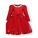 olcso Lány ruhák-Születésnap Napi Szabadság Pamut Egyszínű Virágos Tél Ősz Hosszú ujj Lány Ruha Virágos Csokor Csipke Rubin