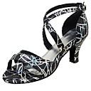 رخيصةأون أحذية لاتيني-للمرأة أحذية رقص جلد صندل / كعب مشبك كعب مخصص مخصص أحذية الرقص أبيض / أسود / متخصص