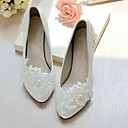 cheap Wedding Shoes-Women's Shoes Lace Leatherette Spring Fall Slingback Wedding Shoes Cone Heel Low Heel Pointed Toe Round Toe Imitation Pearl Appliques