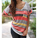 cheap Racks & Holders-Women's Going out Casual Loose T-shirt - Color Block Patchwork V Neck