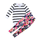 cheap Girls' Pants & Leggings-Toddler Girls' Stripes Floral / Stripe Long Sleeve Cotton Clothing Set