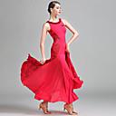 זול הלבשה לריקודים לטיניים-ריקודים סלוניים בגדי ריקוד נשים הצגה תחרה מילק פייבר תחרה ללא שרוולים טבעי שמלה