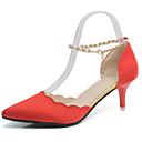 baratos Sapatos de Salto-Mulheres Cashmere Primavera Conforto Saltos Caminhada Salto Agulha Dedo Apontado Pérolas Vermelho / Verde / Rosa claro / Social / 3-4