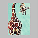 cheap POP Oil Paintings-Oil Painting Hand Painted - Animals Artistic Modern / Contemporary Canvas