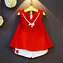 cheap Girls' Dresses-Girls' Patchwork Clothing Set, Rayon Polyester Summer Sleeveless Bow Ruffle Red