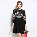 cheap Landscape Paintings-Women's Plus Size Going out Street chic Loose Dress - Patchwork Black, Lace / Cut Out / Print Mini / Fall