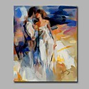 cheap People Paintings-Oil Painting Hand Painted - People Artistic Modern / Contemporary Canvas
