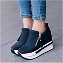 cheap Women's Sneakers-Women's Shoes PU / Fleece Summer / Winter Comfort Flats Chunky Heel Closed Toe Booties / Ankle Boots for Black / Red