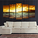 cheap Wall Stickers-Rolled Canvas Prints Landscape Modern, Five Panels Canvas Horizontal Print Wall Decor Home Decoration