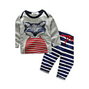 cheap Girls' Clothing Sets-Baby Unisex Casual/Daily Print Animal Clothing Set, 100% Cotton Autumn/Fall Cartoon Long Sleeves White Gray