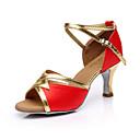 preiswerte Latein Schuhe-Damen Schuhe für den lateinamerikanischen Tanz Seide Sandalen Schnalle Maßgefertigter Absatz Maßfertigung Tanzschuhe Braun / Rot / Blau / Innen / Leder