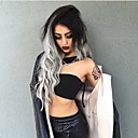 cheap Synthetic Lace Wigs-Synthetic Wig Wavy Middle Part Synthetic Hair Fashion / Ombre Hair Gray Wig Women's Medium Length Capless Black / Grey