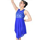 preiswerte Jazztanzkleidung-Ballett Kleider Pailletten Damen Leistung Elasthan Lycra Pailetten Ärmellos Normal Kleid Kopfbedeckung