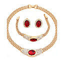cheap Jewelry Sets-Women's Jewelry Set - Gold Plated Classic, Fashion Include Necklace Red For Wedding / Party / Birthday / Engagement / Gift