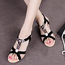 hesapli Kadın Sandaletleri-Kadın's Sandaletler Dolgu Topuk Burnu Açık Boncuklama Süet Topuktan Bağlamalı Yaz Siyah