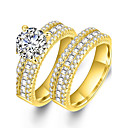 cheap Men's Bracelets-Couple's Cubic Zirconia Synthetic Diamond Couple Rings - Zircon, Gold Plated Statement, Luxury, Classic 6 / 7 / 8 / 9 Gold For Wedding Party Ceremony