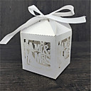 cheap Favor Holders-Round Square Cubic Pearl Paper Favor Holder with Ribbons Printing Favor Boxes - 50