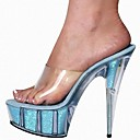 cheap Women's Sandals-Women's Shoes Lace / PVC(Polyvinyl chloride) Summer Formal Shoes Sandals Stiletto Heel Peep Toe Crystal / Bowknot / Flower Fuchsia / Blue