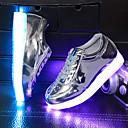 זול מכנסיים לבנים-בנים נעליים PU סתיו / חורף נוחות / חדשני / נעליים זוהרות שטוחות שרוכים ל שחור / כסף / פוקסיה