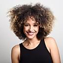 olcso Szintetikus parókák-Szintetikus parókák Kinky Curly Szőke Szintetikus haj Középső rész / Afro-amerikai paróka Szőke Paróka Női Közepes Sapka nélküli Fekete és arany
