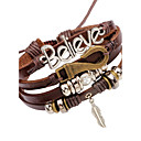 cheap Men's Bracelets-Men's Leather Bracelet - Leather Feather Vintage Bracelet Brown For Stage Club