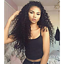 cheap Human Hair Wigs-Human Hair Lace Front Wig Kinky Curly Wig With Baby Hair 130% African American Wig / 100% Hand Tied Women's / Brazilian
