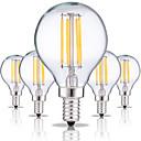 baratos Lâmpadas Filamento de LED-5pçs 4W 360lm E14 Lâmpadas de Filamento de LED G45 4 Contas LED COB Decorativa Branco Quente / Branco Frio 220-240V
