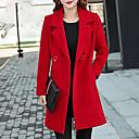 billige Damestøvler-Bomull Store størrelser Skjortekrage Frakk - Ensfarget Dame