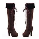preiswerte Damen Stiefel-Damen Schuhe Nubukleder Herbst / Winter Komfort / Neuheit / Modische Stiefel Stiefel Blockabsatz Spitze Zehe Mittelhohe Stiefel