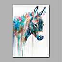cheap Rolled Canvas Paintings-Oil Painting Hand Painted - Animals Modern Rolled Canvas