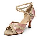 baratos Sapatos de Dança Moderna-Mulheres Sapatos de Dança Latina Seda / Gliter Salto Presilha / Recortes Personalizável Sapatos de Dança Preto / Roxo / Nú / Interior